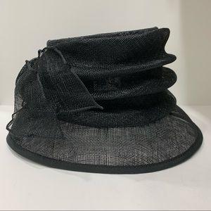 Sculpted Sinamay Hat by Beymar New York, Black